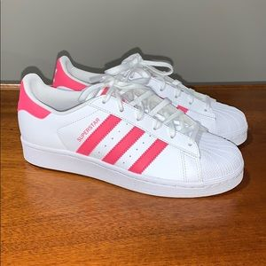 NWOT pink and white Adidas shoes women's 9 1/2